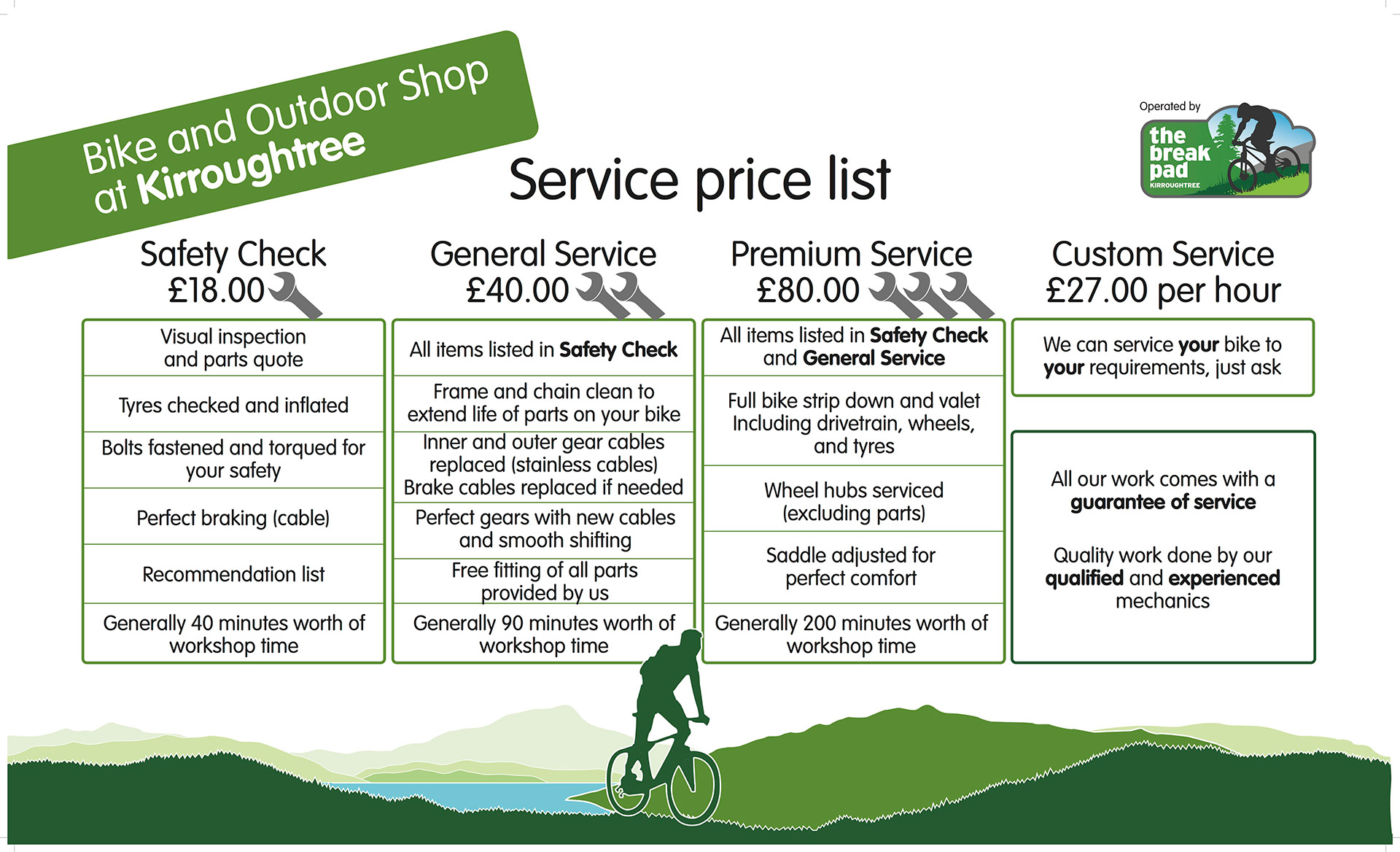 Bike Service Price List